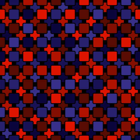 abstract vector seamless pattern. simple black repetitive background with blue and red square shapes. textile paint. fabric swatch. wrapping paper. continuous print. dark grid