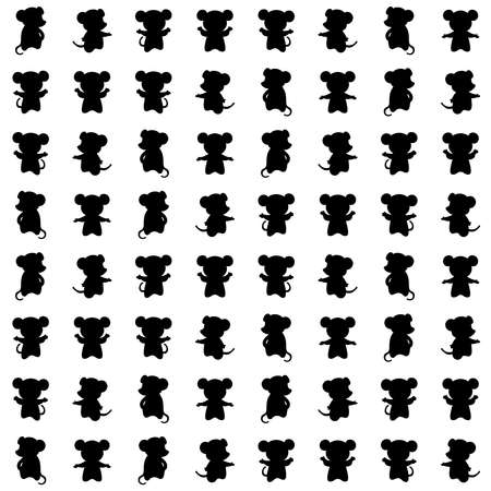 mouse silhouettes. vector seamless pattern with animals. simple black and white illustration. repetitive baby background. textile paint. fabric swatch. wrapping paper. continuous print Ilustração