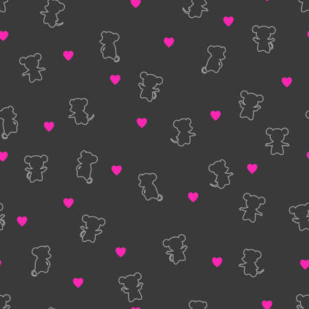 mouse silhouettes. heart shapes. vector seamless pattern with animals. simple gray and pink illustration. repetitive baby background. textile paint. fabric swatch. wrapping paper. continuous print