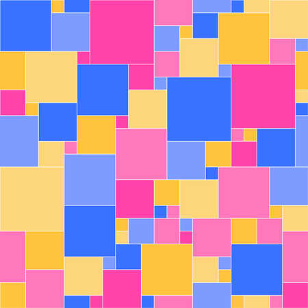 blue yellow pink squares. vector seamless pattern. simple geometric shapes. textile paint. repetitive baby background. fabric swatch. wrapping paper. continuous print
