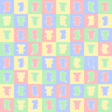 mouses on squares. vector seamless pattern with animals. simple pink yellow blue green illustration. repetitive baby background. textile paint. fabric swatch. wrapping paper. continuous print