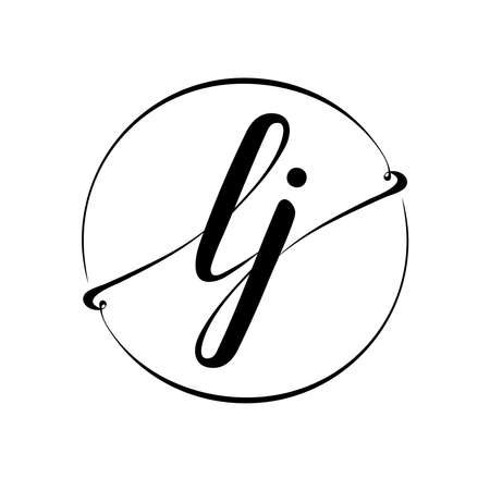 l j initial vector logo. business logotype. handwritten cursive connected letters. simple monogram. brand symbol. black and white image