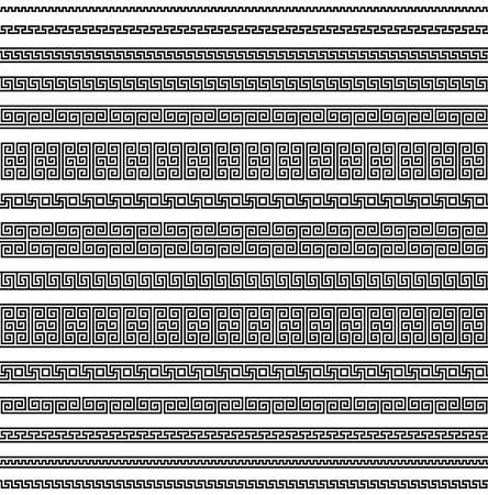 meander seamless pattern. greek fret repeated motif. simple black and white repetitive background. vector geometric shapes. textile paint. fabric swatch. wrapping paper. classic ornament
