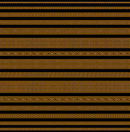 meander seamless pattern. greek fret repeated motif. simple black orange repetitive background. vector geometric shapes. textile paint fabric swatch. wrapping paper. classic ornament repeatable element