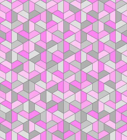 color trapezes. trapezium and hexagon geometric shapes. vector seamless pattern. simple pink and gray repetitive background. textile paint. fabric swatch. wrapping paper. continuous print Illustration