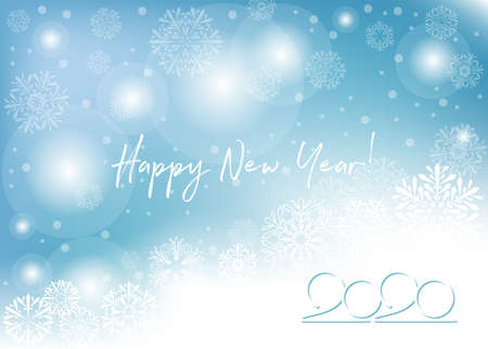 2020 happy new year greeting card. white text on blue winter background. vector illustration; blue winter background with white snowflakes Vektoros illusztráció