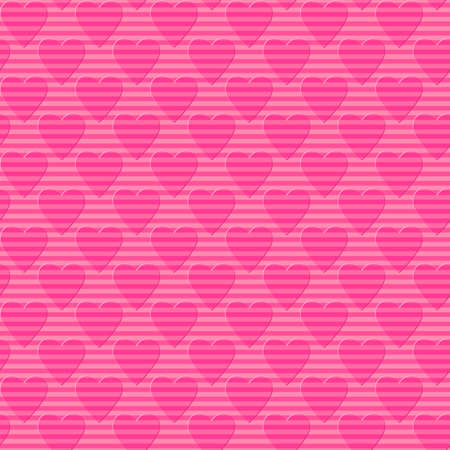 pink striped hearts. simple shapes. vector seamless pattern.  valentines repetitive background. wedding texture. textile paint. fabric swatch. wrapping paper. continuous print. design element for card
