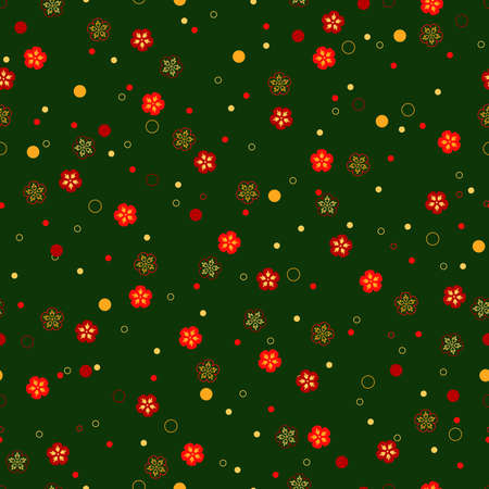 simple dots and flowers. floral seamless pattern. dark green yellow red repetitive spring background. textile paint. fabric swatch. wrapping paper. continuous print. design element. vector illustration