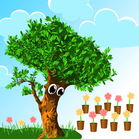 comfort zone. surprised tree looking at potted flowers. sky background. color illustration. psychology concept. common sense