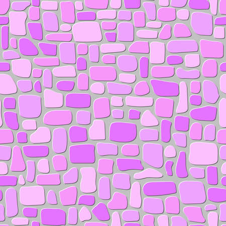 paving stones. pink and gray color wall. abstract vector shapes. chaotic mosaic tiles. seamless pattern. simple repetitive background. textile design element. fabric swatch. wrapping paper. continuous print