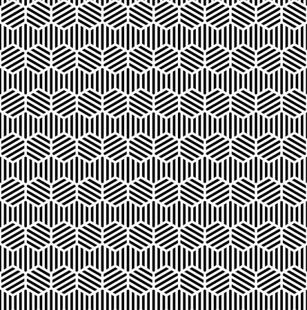 striped hexagons. vector seamless pattern. simple black and white repetitive background. textile paint. fabric swatch. wrapping paper. continuous print. design element for phone case, home decor