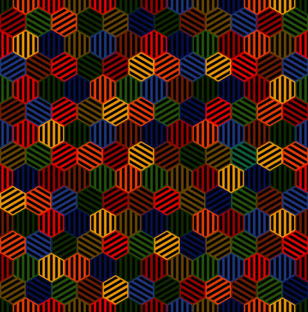striped hexagons. vector seamless pattern. dark color repetitive background. textile paint. fabric swatch. wrapping paper. continuous print. design element for phone case, home decor