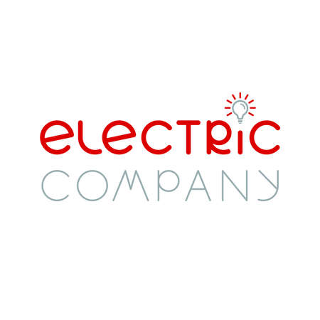 electric company text  . lamp icon. smart simple logotype. business symbol. brand identity. vector template. electricity concept. design element for energy blog, article, topic