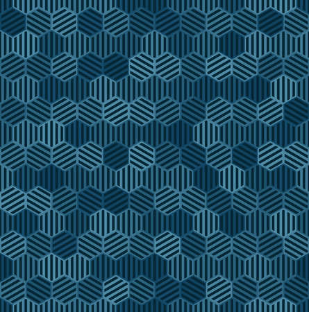 blue striped hexagons. vector seamless pattern. dark color repetitive background. textile paint. fabric swatch. wrapping paper. continuous print. design element for phone case, home decor