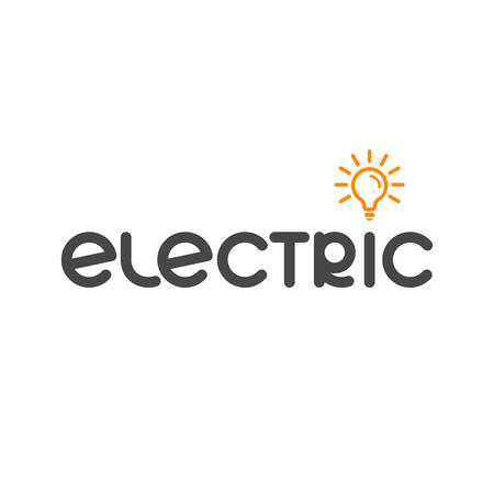 word electric and lamp icon. company text  . smart simple logotype. business symbol. brand identity. vector template. electricity concept. design element for energy blog, article Stock Illustratie