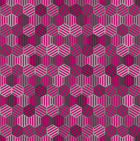 pink and gray striped hexagons. vector seamless pattern. simple repetitive background. textile paint. fabric swatch. wrapping paper. continuous print. design element for phone case, home decor Stock Illustratie