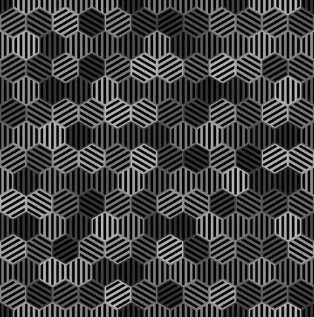 black and gray striped hexagons. vector seamless pattern. simple repetitive background. textile paint. fabric swatch. wrapping paper. continuous print. design element for phone case, home decor