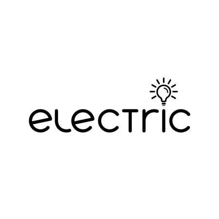 word electric and lamp icon. company text logo. smart simple logotype. business symbol. brand identity. vector template. electricity concept. design element for energy blog, article