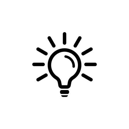 lamp icon. vector logo. electricity concept. energy symbol. simple object. black design element for energy blog, article