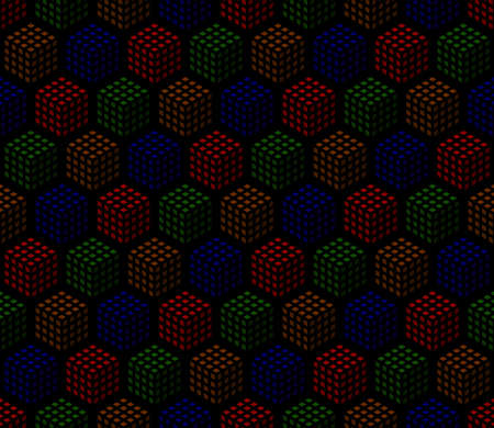 red brown blue green cubes. vector seamless pattern. simple dark repetitive background. textile paint. fabric swatch. wrapping paper. continuous print. design element for phone case, home decor 矢量图像