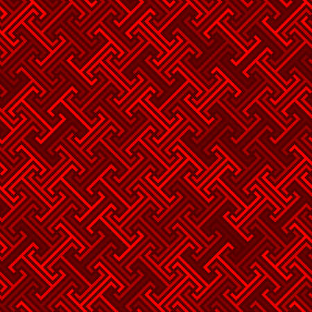 continuous diagonal meander. greek fret repeated motif. vector seamless technology pattern. simple repetitive red background. geometric shapes. textile paint. fabric swatch. wrapping paper. home decor