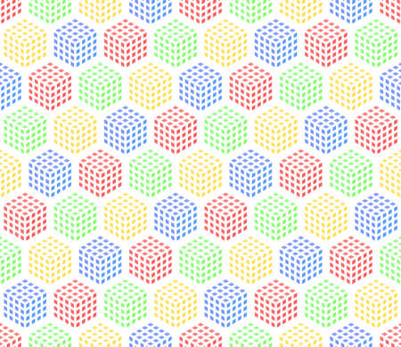 simple white repetitive background with red yellow blue green cubes. vector seamless pattern. textile paint. fabric swatch. wrapping paper. continuous print. design element for phone case, home decor Stock Illustratie