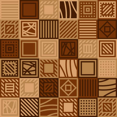 brown squares with lines. vector seamless pattern. simple patchwork repetitive background. textile fabric swatch. wrapping paper. continuous print. design element for home decor, phone case, apparel, carpet