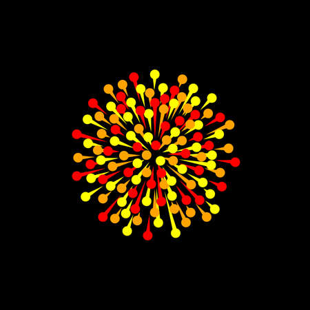 red yellow orange firework on black background. vector image. simple sign. color illustration