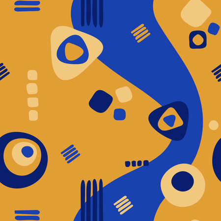 abstract shapes. vector seamless pattern. simple repetitive background. textile fabric swatch. wrapping paper. continuous print. design element for home decor, phone case, apparel. blue and yellow image Stock Illustratie