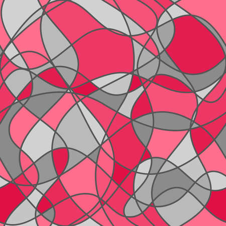 abstract intersecting curves and shapes. vector seamless pattern. pink and gray repetitive background. textile paint. fabric swatch. wrapping paper. continuous print. design element for phone case, apparel, decor