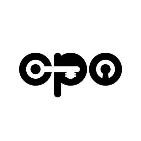 cpo concept. cost per order. key and lock. smart vector . advertising business. text and symbol. letters c, p, o. design element for article headline 矢量图像