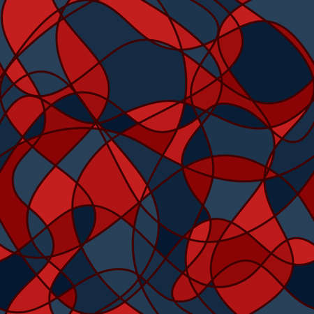 abstract intersecting curves and shapes. vector seamless pattern. blue red repetitive background. textile fabric swatch. wrapping paper. continuous print. design element for phone case, apparel, decor