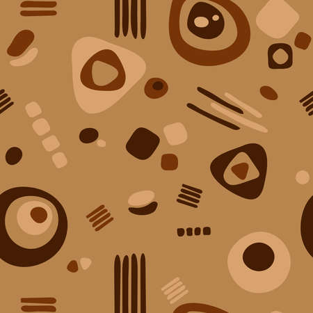 abstract shapes. vector seamless pattern. simple brown repetitive background. textile paint. fabric swatch. wrapping paper. continuous print. design element for home decor, phone case, apparel Stockfoto - 151132515
