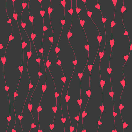 Curves and heart shapes. Seamless pattern. Pink and gray valentine repetitive background. 矢量图像