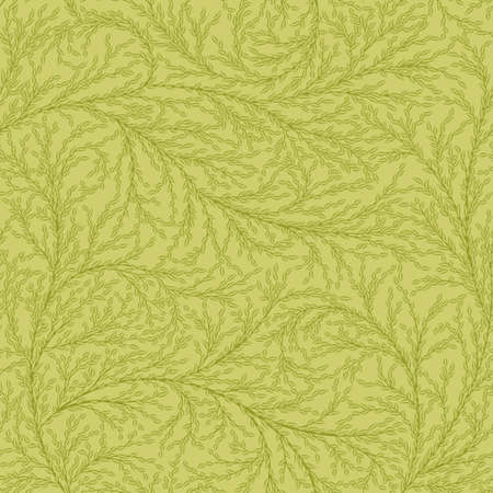 small green leaves on branches. floral seamless pattern. vector bushes. summer repetitive background. textile fabric swatch. wrapping paper. continuous print. design element for card, cover, banner