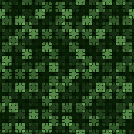 square shapes with rounded corners. vector seamless pattern. dark green repetitive background. textile fabric swatch. wrapping paper. continuous print. design element for phone case, home decor, apparel Stock Illustratie