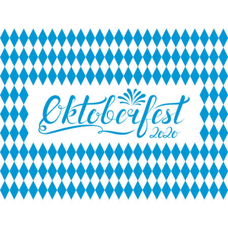 oktoberfest 2020 phrase on blue and white checkered diamond bavarian traditional background. handwritten calligraphy inscription. calligraphic text. october festival vector illustration
