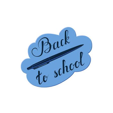 back to school calligraphic text and vector pen on blue cloud. handwritten lettering. vector illustration. design element for greeting card, t-shirt, banner, invitation, vignette, flyer, poster Stock Illustratie
