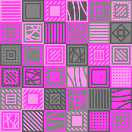 pink and gray squares with lines. vector seamless pattern. patchwork repetitive background. textile fabric swatch. wrapping paper. continuous print. design element for home decor, phone case, apparel, carpet Stock Illustratie