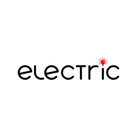 electric word. lamp icon. company text logo. smart simple logotype. business symbol. brand identity. vector template. electricity concept. design element for energy blog, article. black and red image Stock Illustratie
