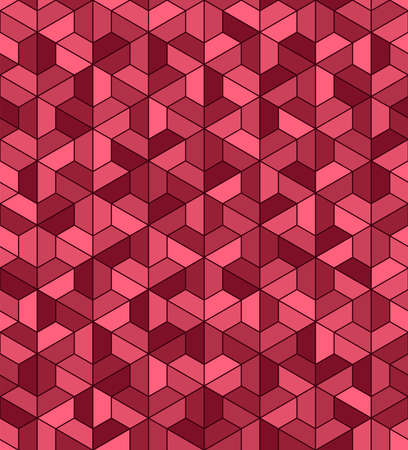 pink and maroon trapezes. trapezium hexagon geometric shapes. vector seamless pattern. simple repetitive background. textile fabric  for decor