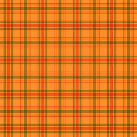plaid material. tartan classic ornament. vector seamless pattern. green orange brown repetitive background. fabric swatch. wrapping paper. continuous print. design element for textile, home decor Ilustrace