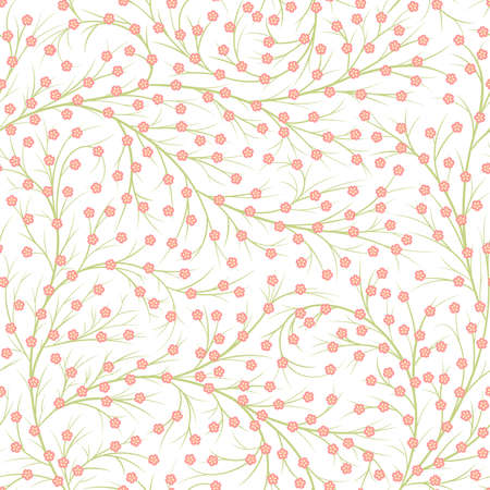 small pink flowers on branches. spring repetitive background. floral seamless pattern. vector bushes. fabric swatch. wrapping paper. continuous print. design element for home decor, textile, apparel 矢量图像