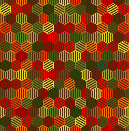 striped hexagons. autumn colors. vector seamless pattern. simple repetitive background. fabric swatch. wrapping paper. continuous print. design element for phone case, home decor, textile, apparel 矢量图像