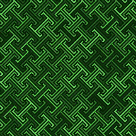 continuous diagonal meander. greek fret repeated motif. vector seamless technology pattern. green repetitive background. geometric shapes. fabric swatch. wrapping paper. design element for home decor, textile, apparel