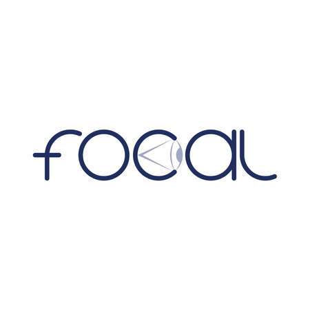 focal text logo with eye symbol. business symbol. vector design template. brand identity concept. gray and red illustration 矢量图像