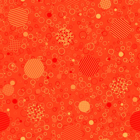 yellow orange red repetitive background. different circles. geometric shapes. vector seamless pattern. fabric swatch. wrapping paper. continuous print. design element for textile, apparel, decor, phone case