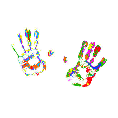 colorful handprints on transparent background. paint marks. vecror illustration. rainbow colors