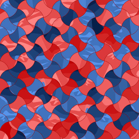 marble blue and red tiles. geometric shapes. vector seamless pattern. color repetitive background. fabric swatch. wrapping paper. continuous print. design element for textile, home decor, apparel Ilustração