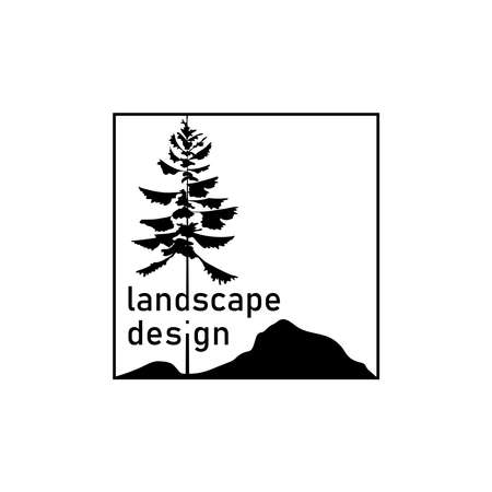 landscape design concept. fir tree and mountains silhouette with text. nature symbol. brand identity. business logotype. design element. vector template. black and white illustration 向量圖像
